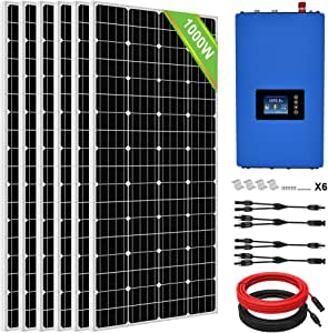 ECO-Worthy 1000 Watt 24 Volt Solar Grid Tie Home Complete System with 6 x180W Solar Panel and 1000W Grid Tie Power Inverter to AC 110V