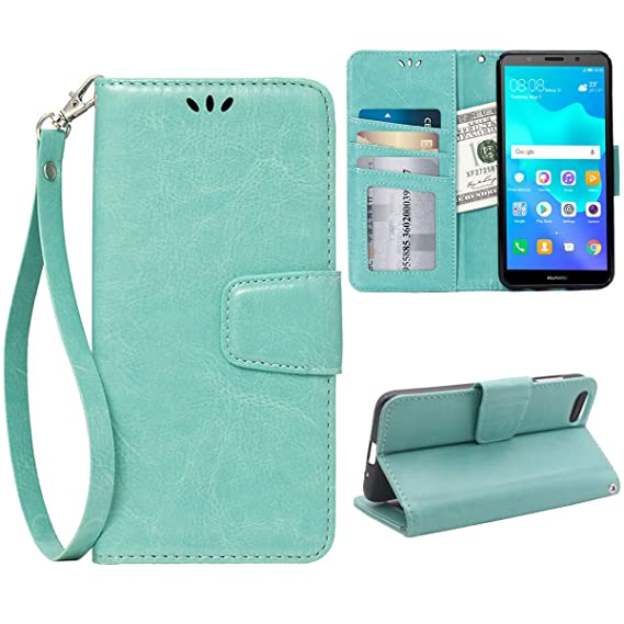 buy online 1f8f3 284bc Flip Case for Huawei Y5 2018/Y5 Prime 2018, Scratch-Proof Leather Wallet  Stand Cover with Card Holder Phone Case Protector for Huawei Y5 2018/Y5  Prime ...