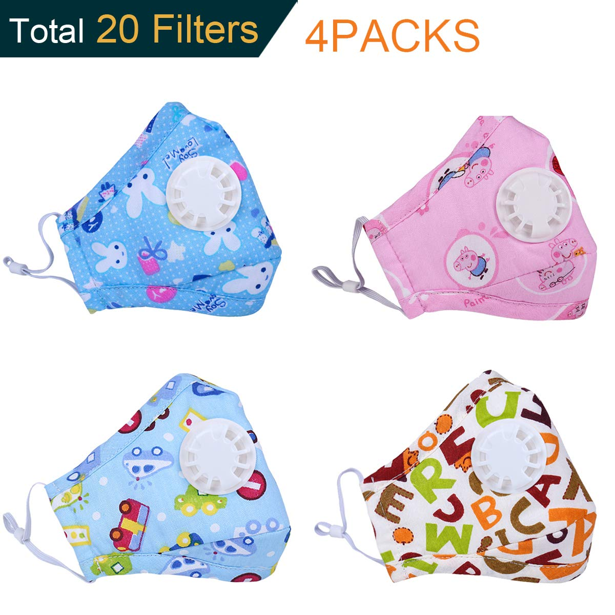 Dodoshop 4Pack Kids Dust Mask with Valve Replaceable Filter Cute Cartoon Cotton Allergy Mouth Mask(Each Mask with 2 Filters)