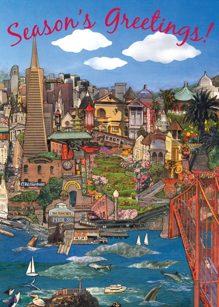 Amazon.com: San Francisco Golden Gate Bridge Christmas Card - 18 ...