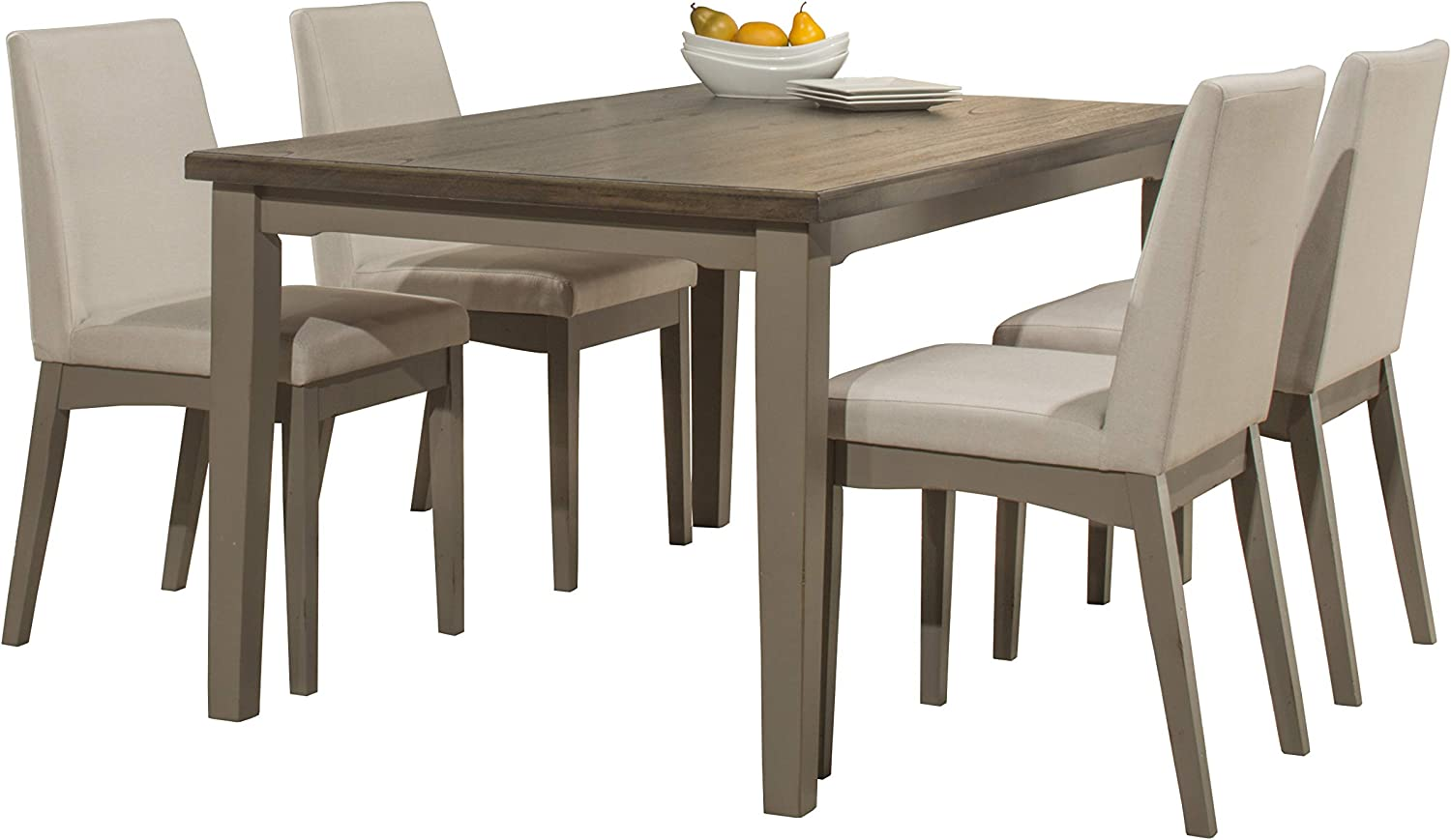 Hillsdale Furniture 5 Piece Dining Set with Clarion Rectangle Upholstered Chairs, Distressed Gray