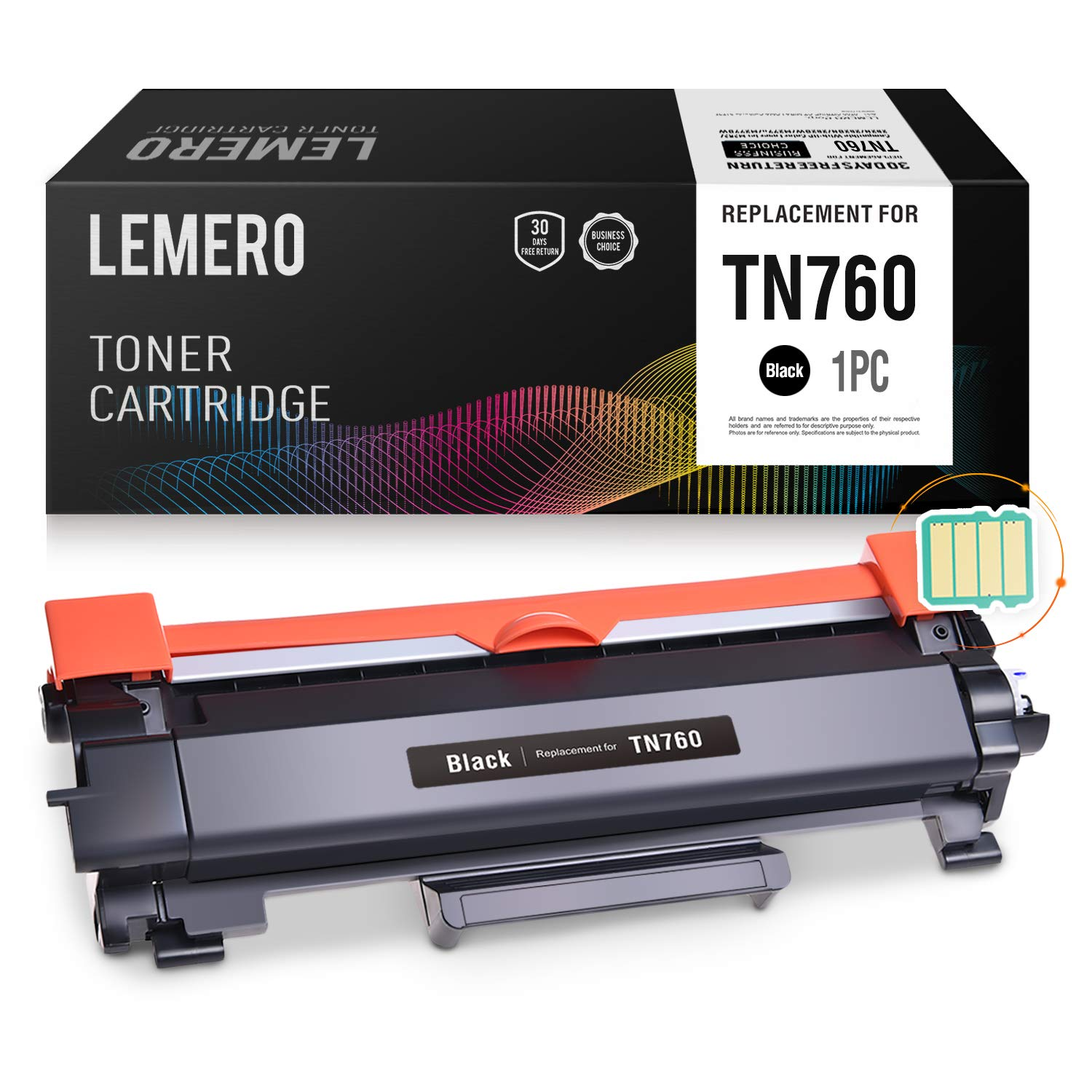 LEMERO (with IC CHIP) Compatible Brother TN760 TN730 High Yield Black Toner Cartridge - for Brother HL-L2350DW HL-L2395DW DCP-L2550DW MFC-L2710DW MFC-L2750DW by Lemero (Image #1)