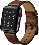 Apple Watch Band Leather, Ocyclone Apple Watch Band 42mm Leather Strap for Men Apple iWatch Series 3 Accessories, Stainless Steel Metal Black Adapter and Buckles, Black Dots - Coffee/Dark Brown