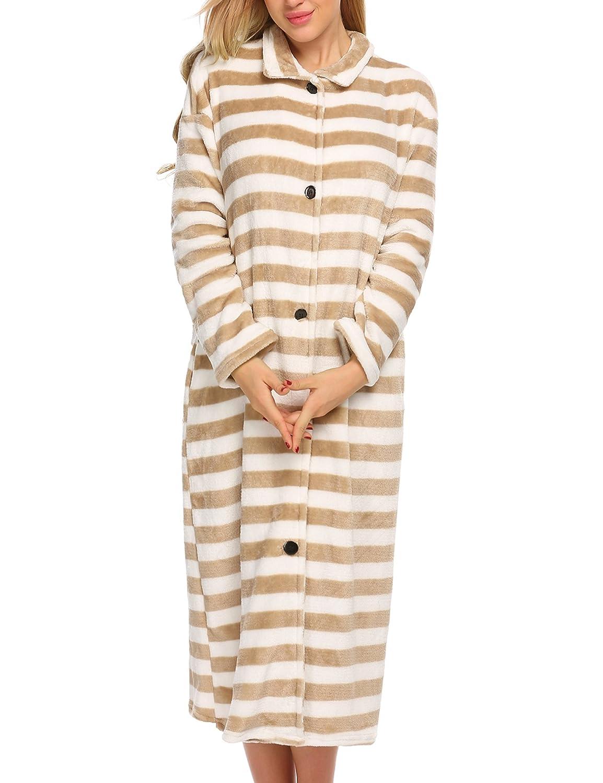 Ekouaer Women' s Fleece Bathrobe Button Front Long Robe Ultra-soft Sleepwear S-XXL #EKK007662