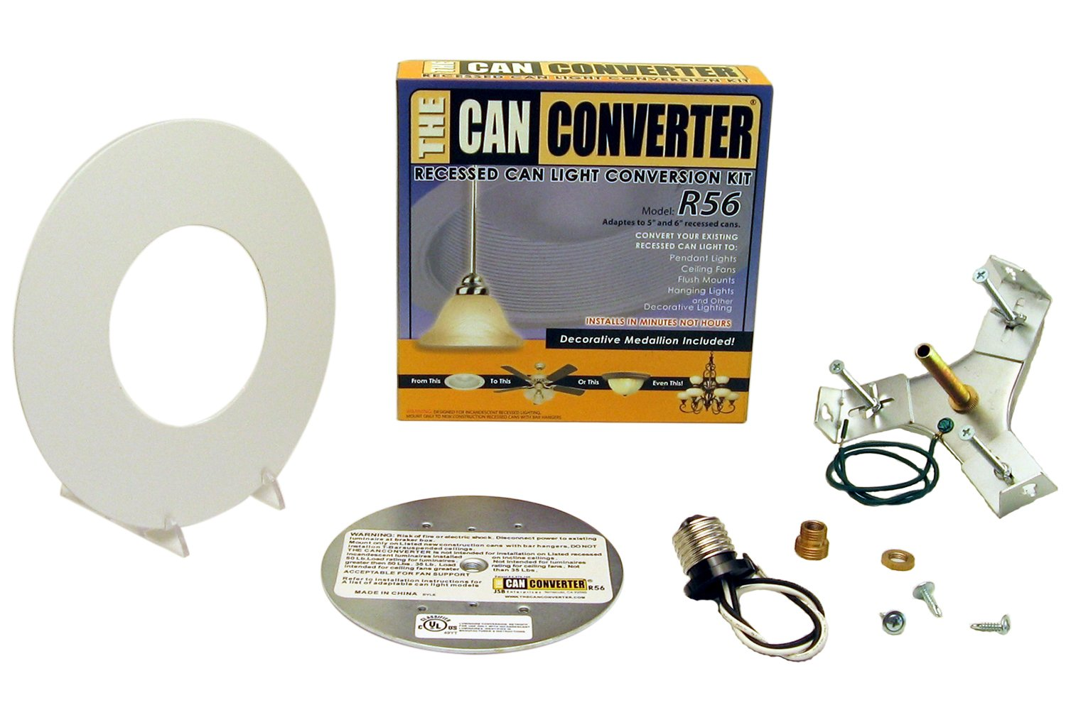 Light Recessed Flat Canopy Converter R56-RMF-WHT Conversion Kit for 5'' and 6'' Cans