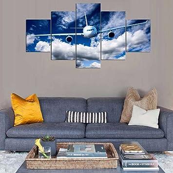 Comprennent La Décoration Toile Impression Panneau 5 Peinture Avions Vintage  Wall Art Nuageux Ciel Bleu Voir