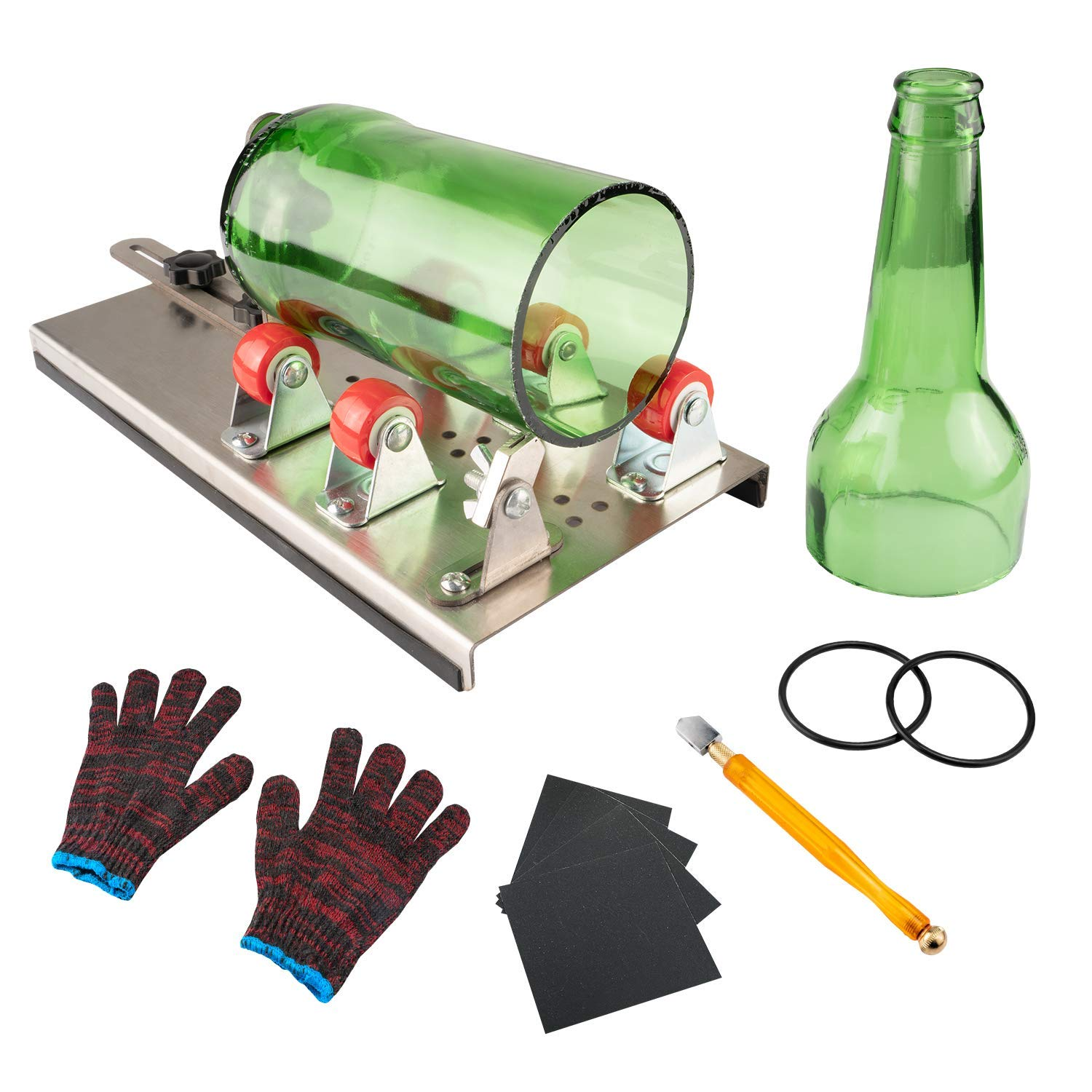 Glass Bottle Cutter, VIBIRIT Glass Cutting Tools with Accessories, DIY Machine Tool Kit for Cutting Round or Square Glass Bottles by VIBIRIT