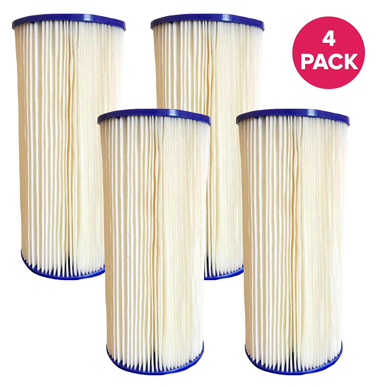 Think Crucial Replacement Water Filter – Compatible with GE FXHSC Whole House Pre-Filtration Sediment Filter, Culligan R50-BBSA, Pentek R50-BB, Dupont WFHDC3001 – Fits Most GE Models – Bulk (4 Pack)