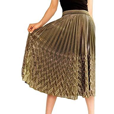 QinMMROPA Falda Plisada elástica de Cintura Alta Dorada para Mujer ...