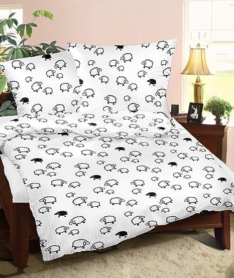 Mako Satin Bettwäsche Weiß Schwarz Tiere 200x220 Cm übergröße 200 X