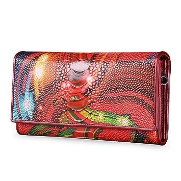 Contactos de Piel para Mujer Piel Grabado Flores Tarjeta teléfono Largo Cartera Monedero del Embrague, Red 10440756: Amazon.es: Equipaje