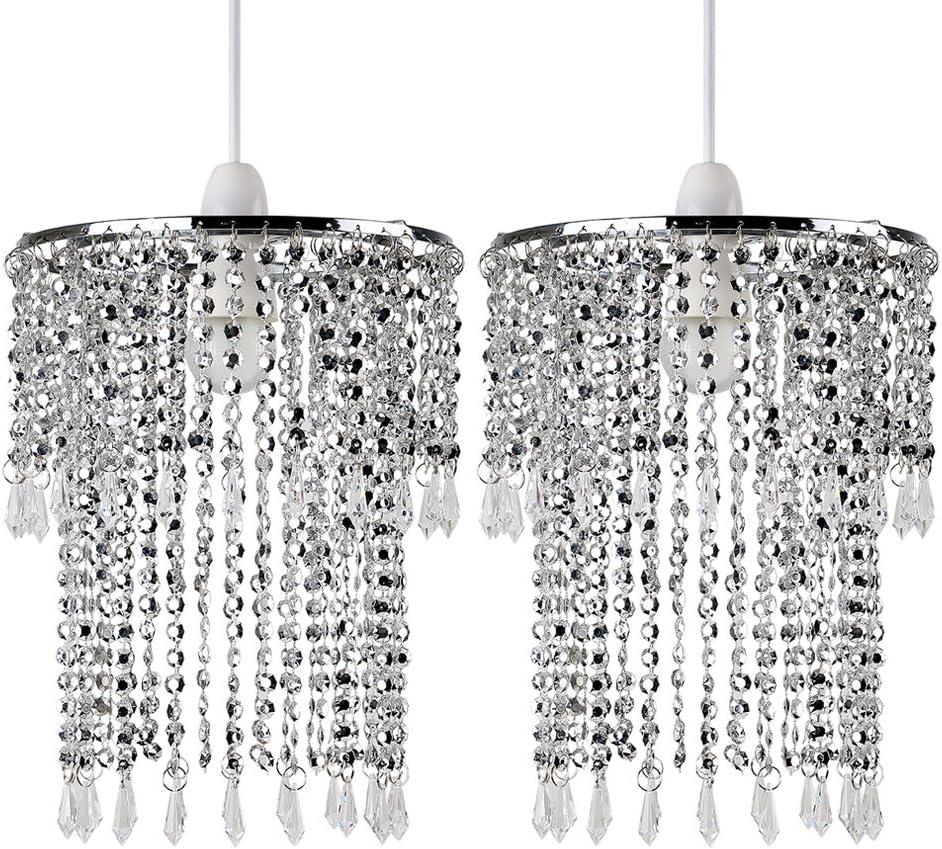 MODERN CEILING PENDANT LIGHT LAMP SHADE CHANDELIER SHADES ACRYLIC & CRYSTAL DROP