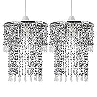Pair of - Modern Sparkling Chrome Acrylic Crystal Jewel Bead Effect Ceiling Pendant Light Shades