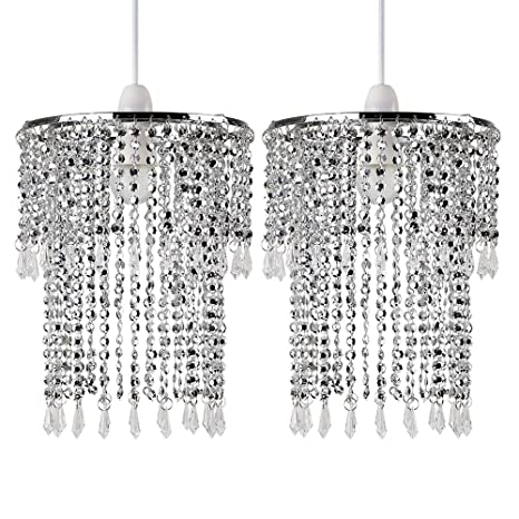 designer fashion 3f0f1 77749 Pair of - Modern Sparkling Chrome Acrylic Crystal Jewel Bead Effect Ceiling  Pendant Light Shades