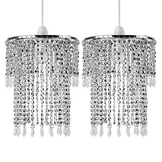 Pair of - Modern Sparkling Chrome Acrylic Crystal Jewel Bead Effect ...