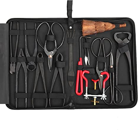Amazon Com 14pcs Bonsai Tools Kit Set Carbon Steel Cutter Scissors Shears Tree Nylon Case Kitchen Dining