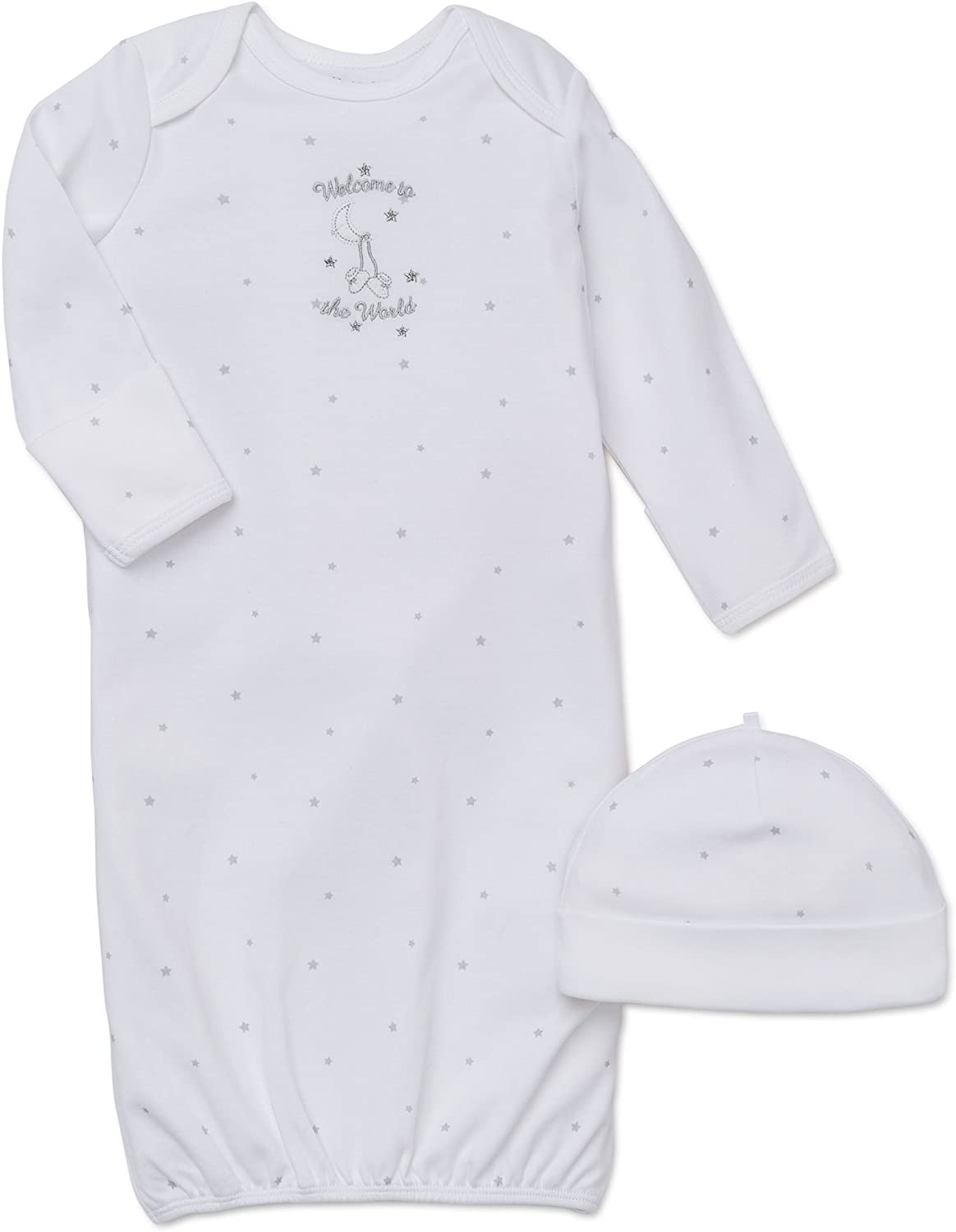 White Little Me Unisex-Baby Newborn Welcome World Gown and Hat 0-3 Months