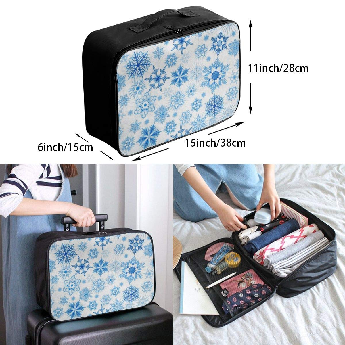 ADGAI Winter Frost Glitter Snowflakes Canvas Travel Weekender Bag,Fashion Custom Lightweight Large Capacity Portable Luggage Bag,Suitcase Trolley Bag