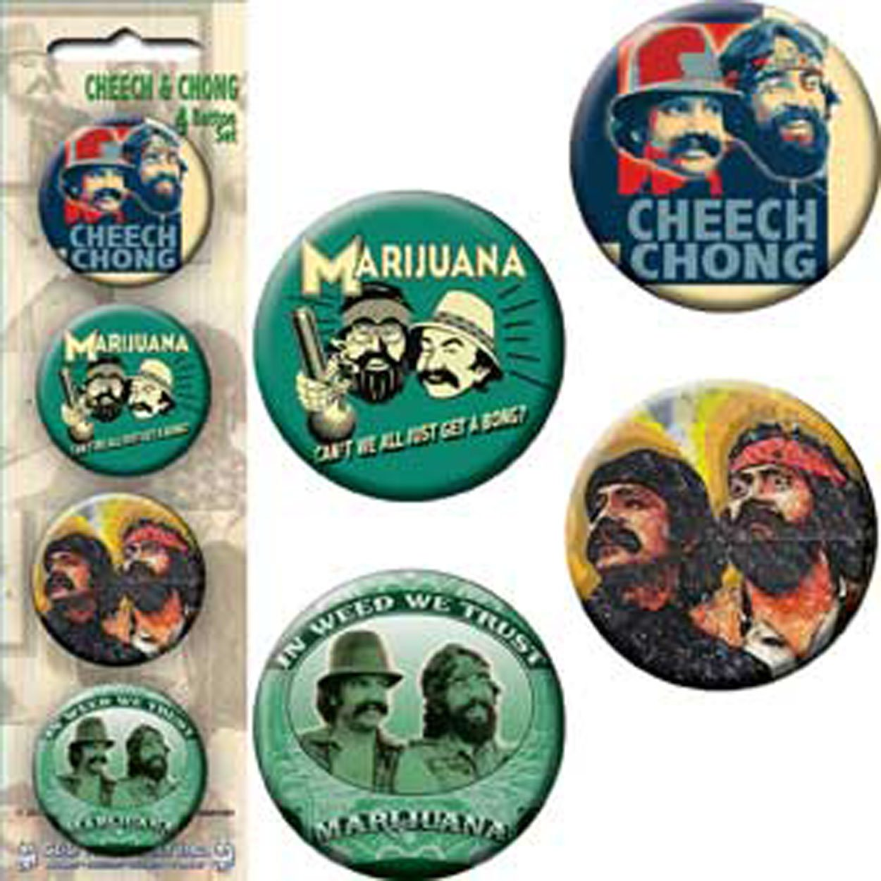 C/&D Visionary Licenses Products Cheech and Chong Assorted Artworks 1.25 Button Set 4-Piece