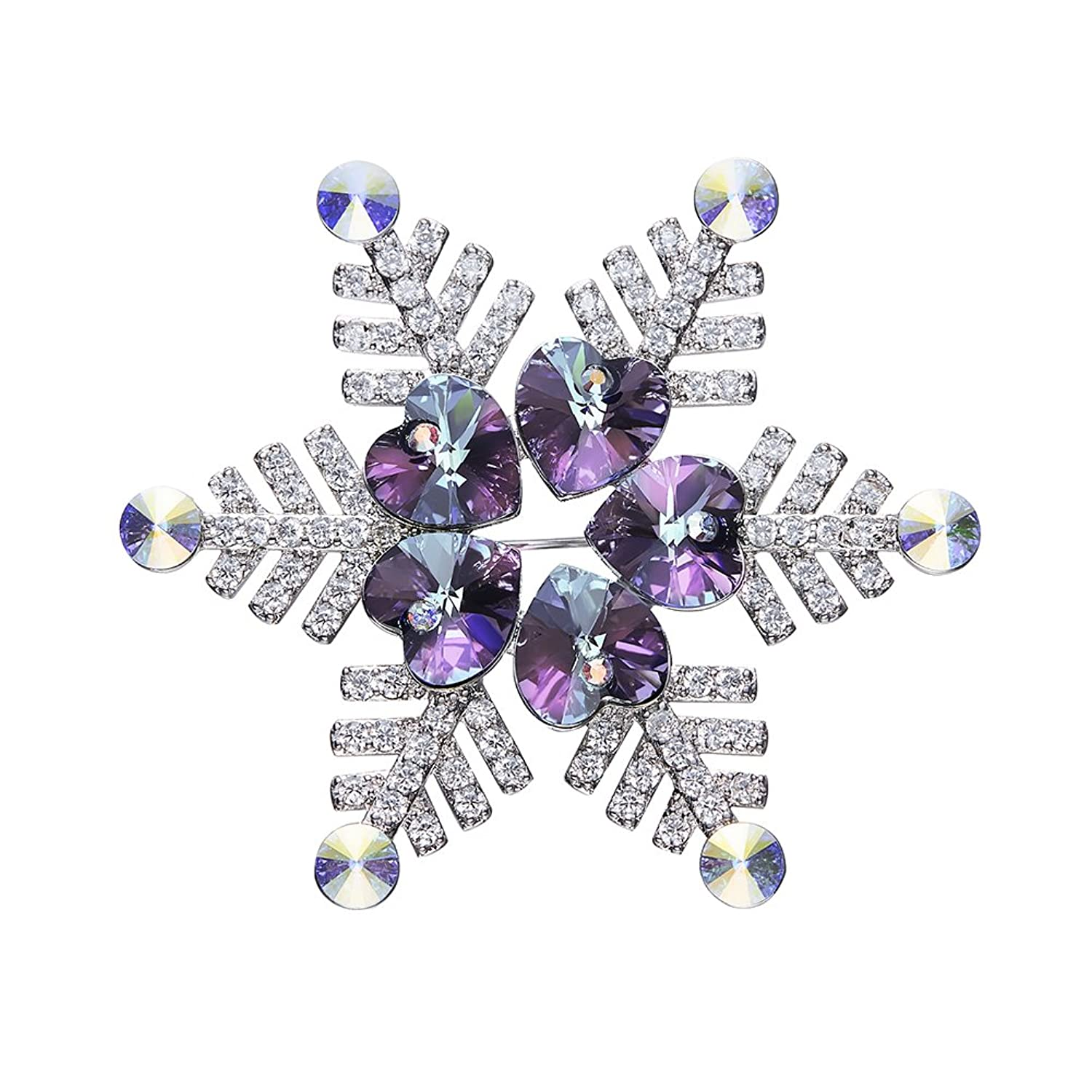 Large Snow Flower Christmas Brooches Pin For Women Made With Swarovski Element Crystals