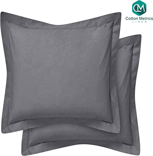 European Pillow Shams Dark Gray Solid 500 Thread Count 100/% Egyptian Cotton SC-Collection European Square Pillow Shams Set of 2 Pillowcase Euro Shams 26x26 Dark Gray Pillow Covers 2 Pack