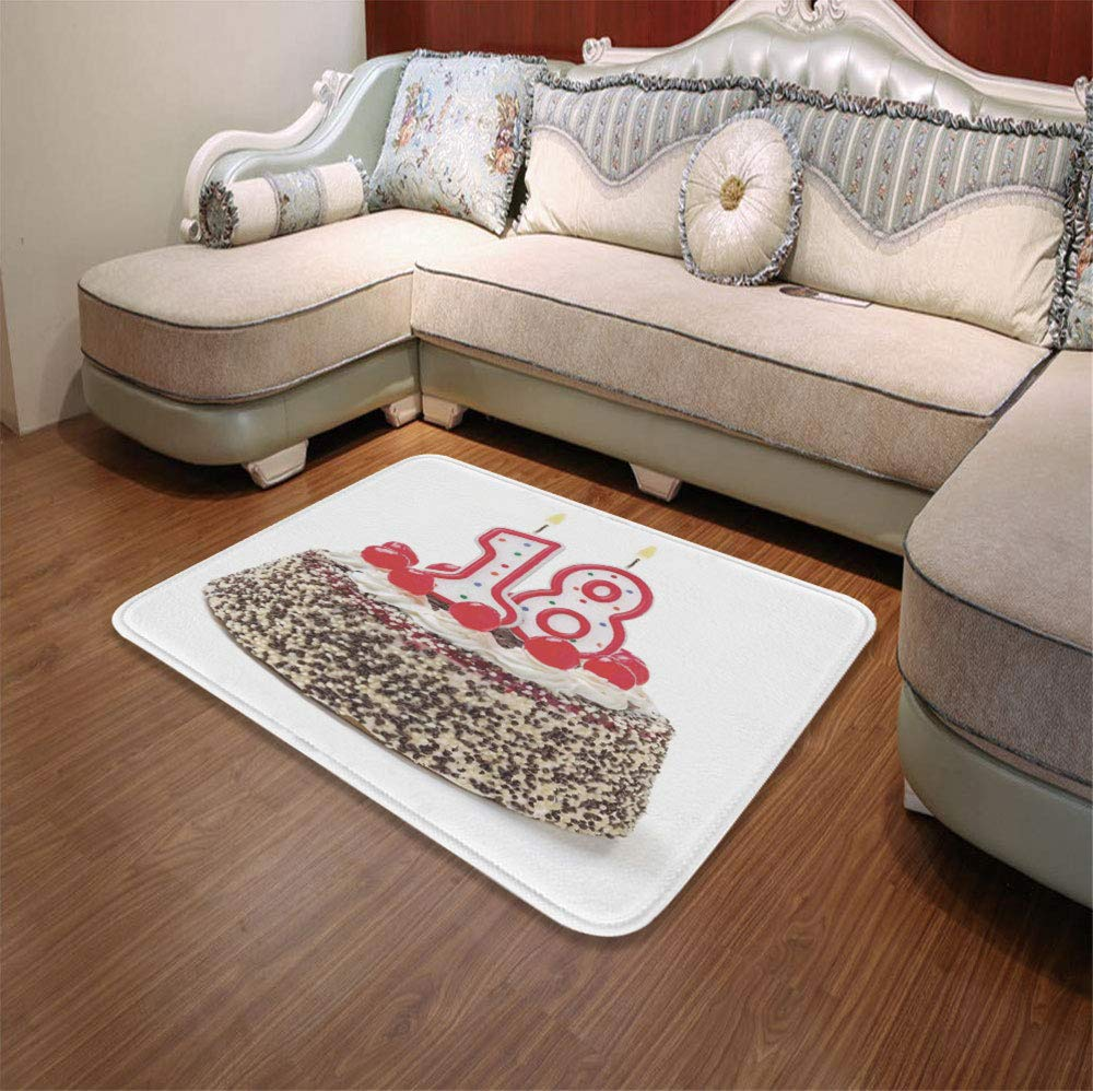 YOLIYANA Polyester Carpet,18th Birthday Decoration,for Meeting Room Dining Room,55.12'' x78.74'',Sweet Eighteen Party Cake with Candles by YOLIYANA (Image #1)