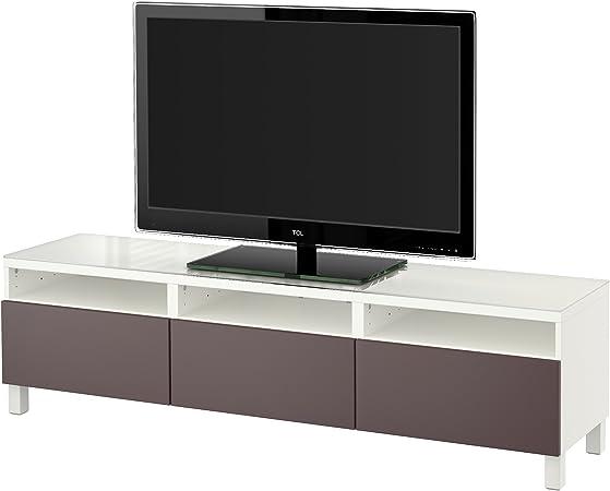 Ikea Besta Banc Tv Avec Tiroirs Blanc Valviken Brun