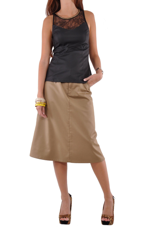 Style J Sleek Chic Khaki Skirt-Beige-26(6)