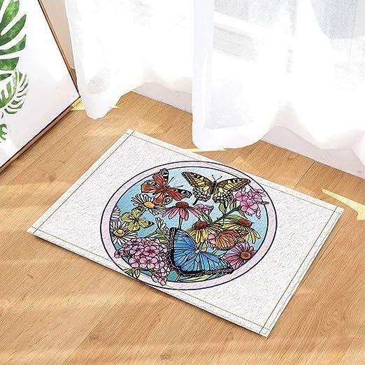 Decoración del jardín, pintura realista china tradicional de mariposas, alfombras de baño, alfombrillas antideslizantes en el