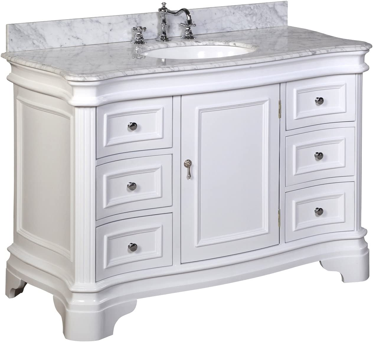 Katherine 48-inch Bathroom Vanity Carrara White Includes White Cabinet with Authentic Italian Carrara Marble Countertop and White Ceramic Sink