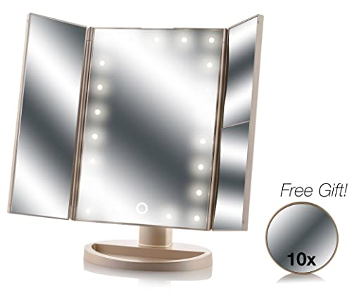 Asani Tri-Fold Lighted Magnification Makeup Mirror with a FREE 10X Spot Mirror 21 LED Lights Touch Controls 1X 2X 3X Magnifying Cosmetic Vanity Folding Mirrors for Dresser Free Rotation Gold