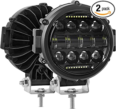 """2x 7/"""" Round DRL LED Work Light Driving Fog Combo For Jeep SUV UTV Truck Offroad"""