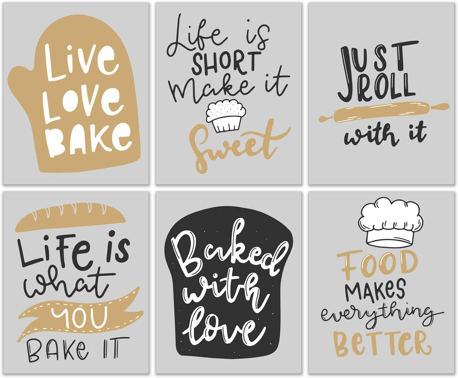 Fun Baking Puns Quotes and Sayings Artwork - Trendy Modern and Aesthetic Grey Black Gold & White Wall Decor for Kitchen - Set of 6 (8x10 Inch) Live Love Bake - Food Makes Everything Better