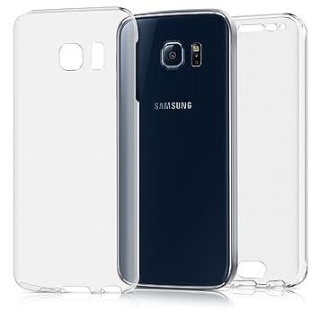kwmobile Funda para Samsung Galaxy S6 Edge - Carcasa Completa [360] de [Silicona] para móvil - Cover Doble [Transparente]