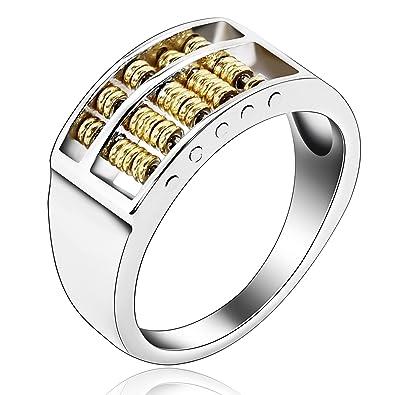 Beydodo Edelstahl Herren Ring 9mm Silber Vergoldet Sehr Klein Abakus