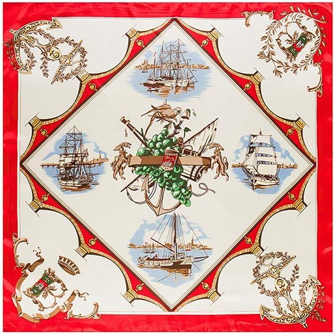 TYJYTM Pañuelo de Seda España Barco Flotante Estampado Pañuelo Mujer Pañuelos de Seda Pañuelo Oficina Lady Necker Jefe, Azul Marino, 90CMx90CM: Amazon.es: Deportes y aire libre