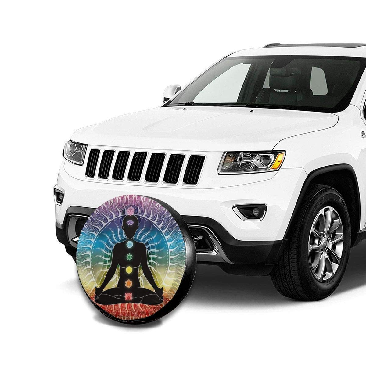 RV Spare wheel cover SUV and Various Vehicles Car Tire Cover Sunscreen Protective Cover Rainbow Mandala Yoga Seven Chakras Indian Water Proof Universal Spare Wheel Tire Cover Fit for Trailer