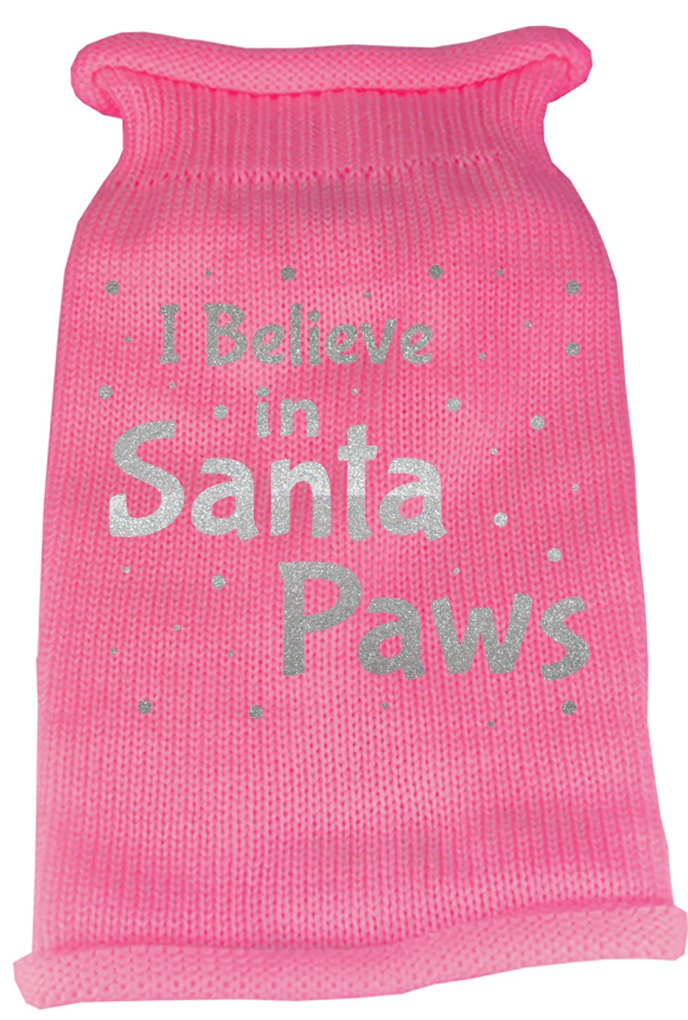 Mirage Pet Products I Believe in Santa Paws Screen Print Knit Pet Sweater, Medium, Pink