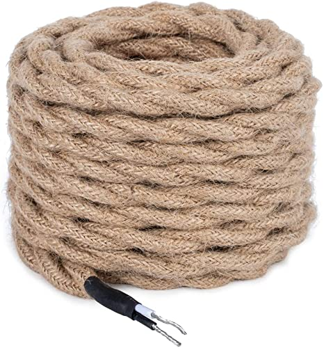 32.8feet Twisted Hemp Rope UL Listed 18 2 Cloth Natural Fabric Electrical Cord for Pendant Light Kits Industrial Retro DIY Projects Hemp Rope Electrical Cord