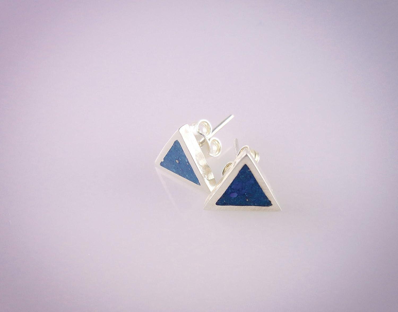 Triangle Lapis Lazuli Mosaic Micro Mosaic Sterling Silver Stud Earrings Semi Precious Gemstone by Handmade Studio