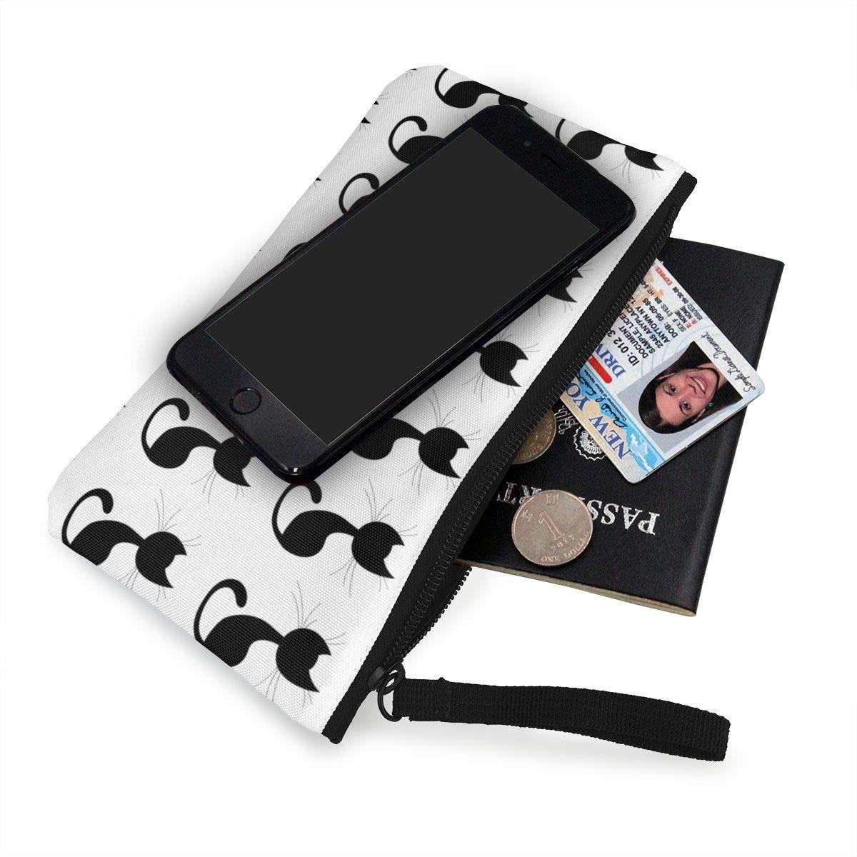 Canvas Cash Coin Purse,Black Cute Cats Print Make Up Bag Zipper Small Purse Wallets