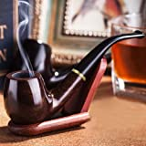 """Joyoldelf Wooden tobacco smoking pipe """"Maigret"""" Black, Smooth, Bent, Hand made + Stand"""