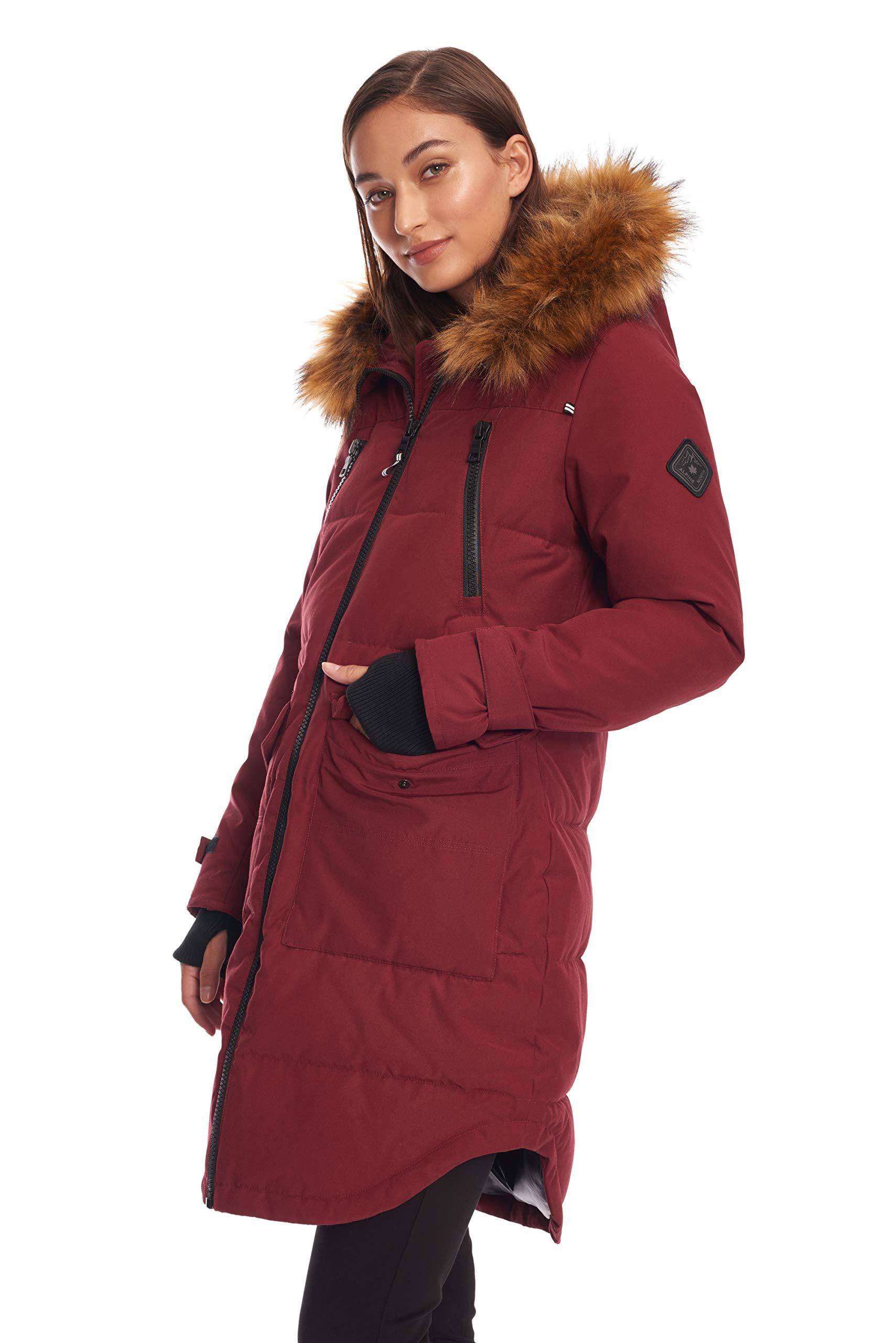 3eb35081cead Alpine North Womens Womens Vegan Down Drawstring Winter Parka Down  Alternative Coat