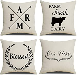 RUOAR Set of 4 Throw Pillow Covers Square Cotton Linen Farmhouse Style Decorative,Home Decor Design Set Cushion Covers Pillowcases with Hidden Zipper for Sofa Bedroom 18''x18'' Farm-Blessed-Arrow-Cow