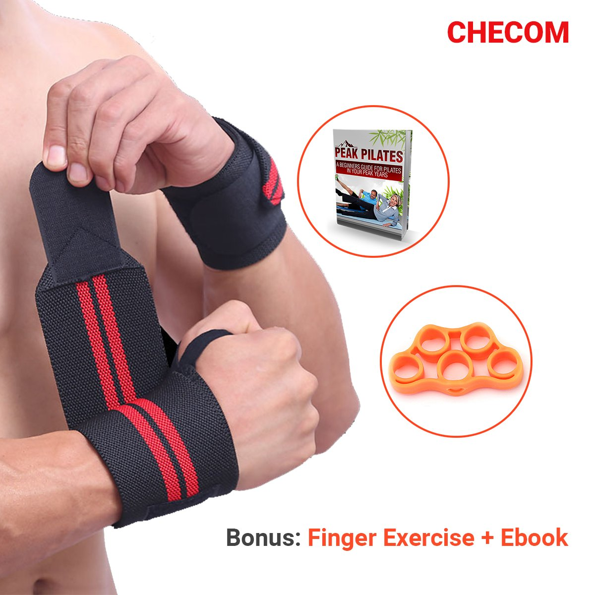 CHECOM Wrist Wraps and Finger Exercise Trainer Set - 19.7'' Professional Grade with Hook and Thumb Loop - Wrist Support Straps For Weight Lifting, CrossFit, Powerlifting, Strength Training. by CHECOM