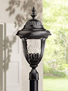 """Bellagio Traditional Outdoor Post Light Textured Black Italian Design 24 1/2"""" Clear Hammered Glass for Exterior Garden Yard - John Timberland"""