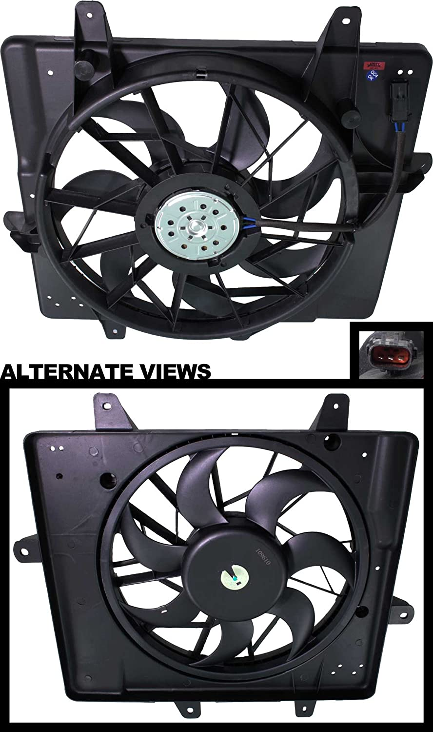 APDTY 731133 Radiator Cooling Fan Assembly Fits 2001-2005 Chrysler PT Cruiser (Except Turbo Models) & Fits 2006-2008 PT Cruiser Models w/3-Pin Harness (Except Turbo) (Replaces 05017407AB, 5017407AB)