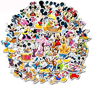 Vinyl Laptop Stickers Water Bottle - Mickey Mouse Cute Decals Car Waterproof Bumper Computer Phone Case Book Skateboard Luggage Motorcycle Bike Helmet Decor Graffiti Patches [No-Duplicate] 50 Pack