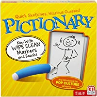 Mattel Games DKD49 Pictionary Drawing Game, Board Game with Dry Erase Boards, Markers, Adult Clue Cards and Junior Clue…