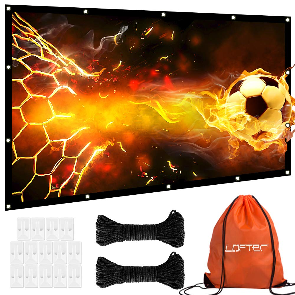 120 inch Projector Screen, Anti-Crease 16:9 Projection Screen, Foldable and Portable Movie Screen with Hooks and Ropes, 1.1 Gain Clear and Bright Image, Perfect for Home Theater Cinema Outdoor Indoor